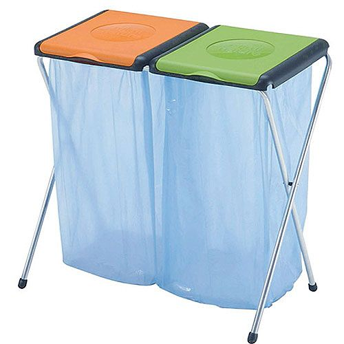 Recycling Bin Sack Holder 2-Compartment Orange/Green 60 Litres 124462