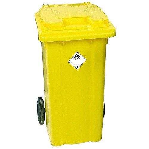 Yellow Clinical Waste 2 Wheel Wheelie Bin 120 Litres H930 x W480xmm 377918
