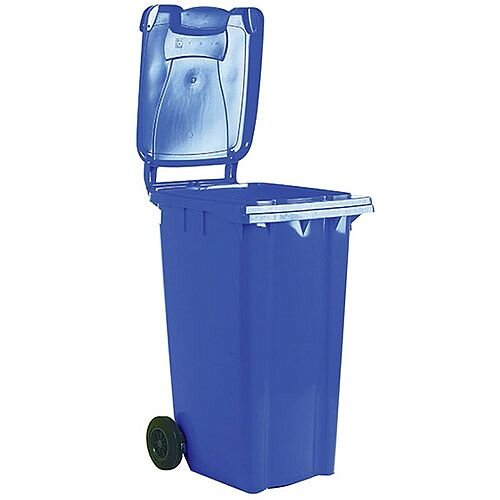 Wheelie Bin 80 Litre 2-Wheel Blue - Wheeled bin for easy disposal of waste - Suitable for general waste or recyclables - UV stabilised polyethylene for durability