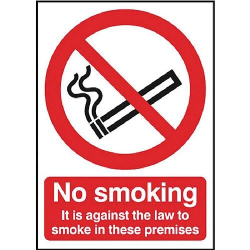 Safety Sign 297x210mm No Smoking Self-Adhesive Pack of 1 SR72082
