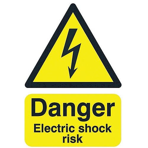 Safety Sign Danger Electric Shock Risk A5 Self-Adhesive Vinyl