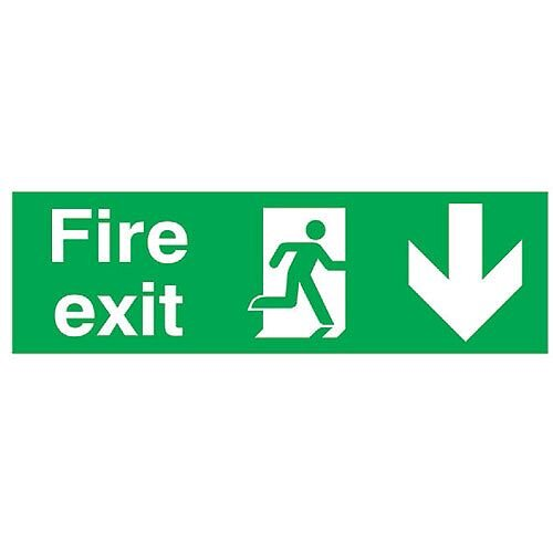 Safety Sign Fire Exit Running Man Arrow Down 150x450mm PVC