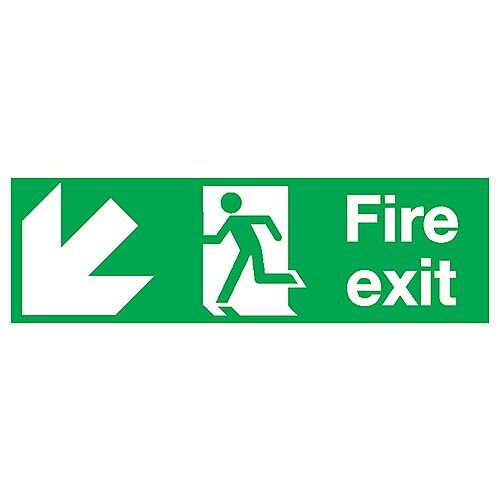Safety Sign Fire Exit Running Man Arrow Down/Left 150x450mm PVC
