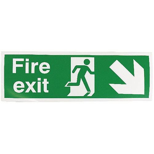 Safety Sign Fire Exit Running Man Arrow Down Right 150x450mm Self-Adhesive Vinyl