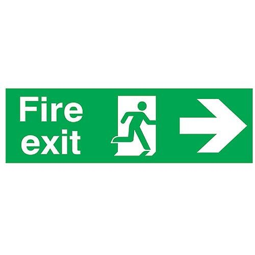 Safety Sign Fire Exit Running Man Arrow Right 150x450mm PVC