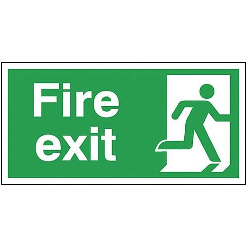 Safety Sign Fire Exit Running Man Right 150x300mm Self-Adhesive