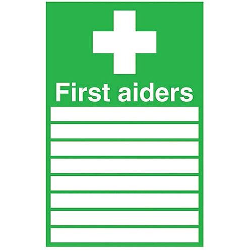 First Aiders Roster Safety Sign 300x200mm Self-Adhesive