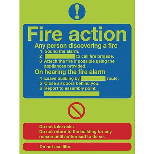 Safety Sign Niteglo Glow In The Dark Fire Action Stand 300x250mm PVC