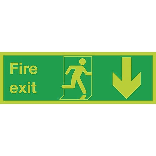 Safety Sign Niteglo Glow In The Dark Fire Exit Running Man Arrow Down 150x450mm Self-Adhesive