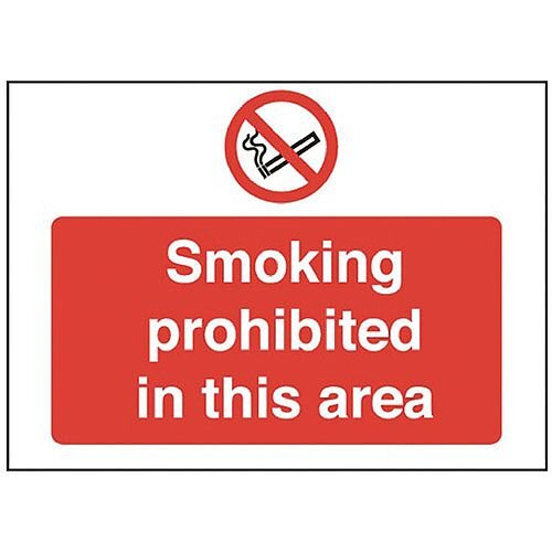 Safety Sign Smoking Prohibited in This Area 450x600mm PVC Pack of 1 P35Z/R