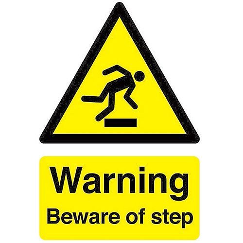 Safety Sign Warning Beware Of Step A5 Self-Adhesive Vinyl