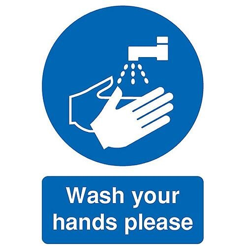Safety Sign Wash Your Hands Please A5 PVC