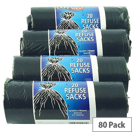 Safewrap Black Refuse Sack 92L Pack of 4 Rolls 20 Sacks per Roll (80 Bin Bags in Total) 0446