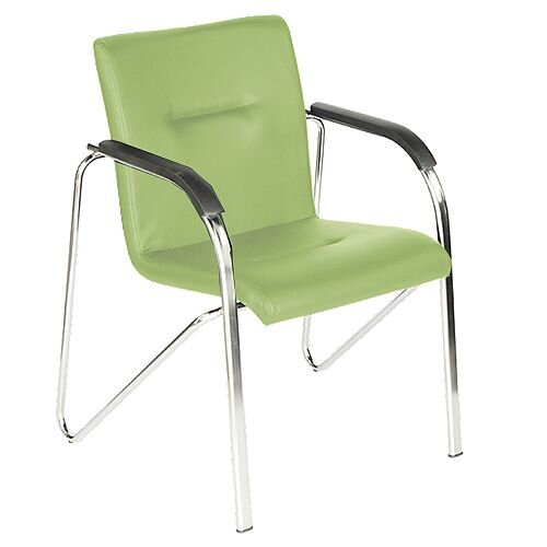 Green Leather Look Boardroom Stacking Chair Sandy