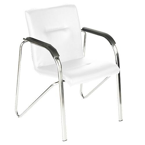White Leather Look Boardroom Stacking Chair Sandy