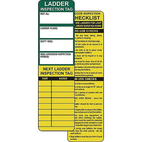 Ladder Safety Management Tags 280x80mm Pack of 10