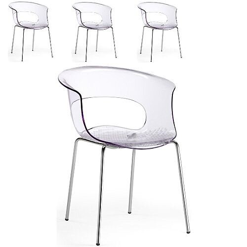 Miss B Antishock Canteen &Breakout Chrome Leg Chair Transparent Set of 4