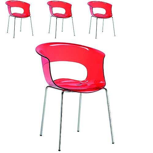Miss B Antishock Canteen &Breakout Chrome Leg Chair Translucent Red Set of 4