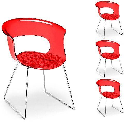 Miss B Antishock Canteen &Breakout Chrome Sled Frame Chair Translucent Red Set of 4