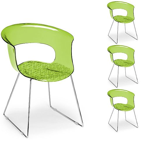Miss B Antishock Canteen &Breakout Chrome Sled Frame Chair Translucent Lime Green Set of 4