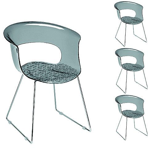 Miss B Antishock Canteen &Breakout Chrome Sled Frame Chair Translucent Smoked Grey Set of 4