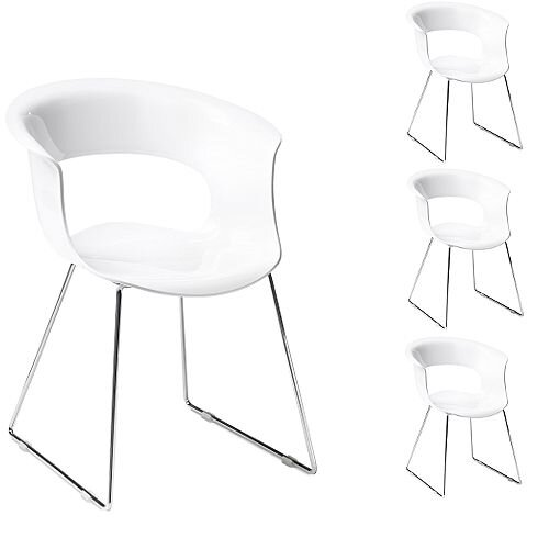 Miss B Antishock Canteen &Breakout Chrome Sled Frame Chair Glossy White Set of 4