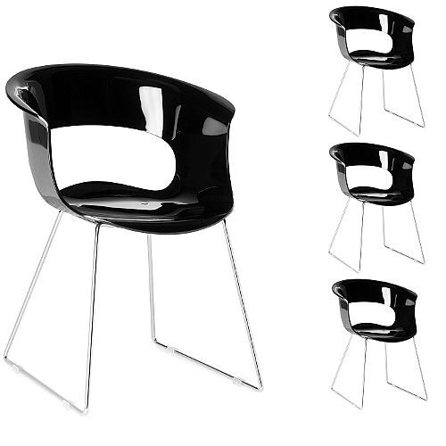 Miss B Antishock Canteen &Breakout Chrome Sled Frame Chair Glossy Black Set of 4