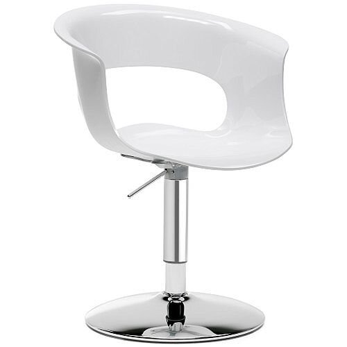 Miss B Up Antishock Chair With Chrome Height Adjustable Revolving Trumpet Base Glossy White