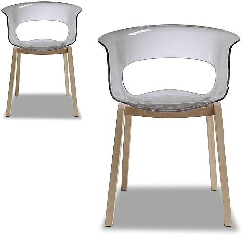 Natural Miss B Antishock Canteen &Breakout Wooden Leg Chair Translucent Smoked Grey Set of 2