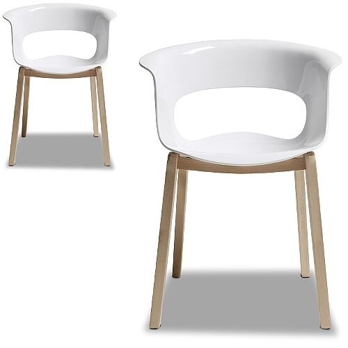 Natural Miss B Antishock Canteen &Breakout Wooden Leg Chair Glossy White Set of 2