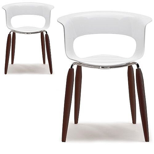 Natural Miss B Antishock Canteen &Breakout Chair Glossy White With Steel &Wenge Beech Wood Legs Set of 2