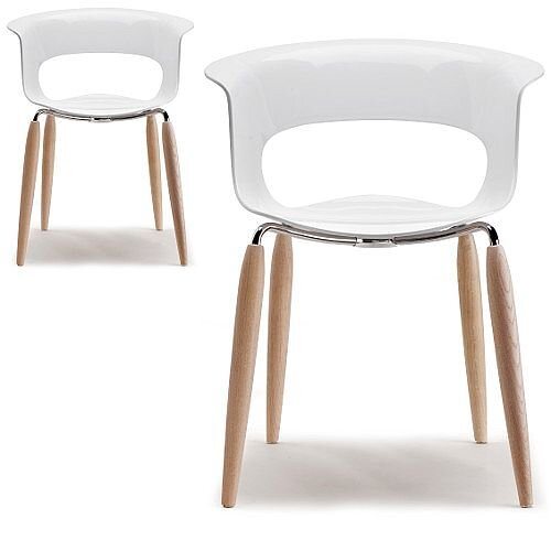 Natural Miss B Antishock Canteen &Breakout Chair Glossy White With Steel &Natural Oak Wood Legs Set of 2