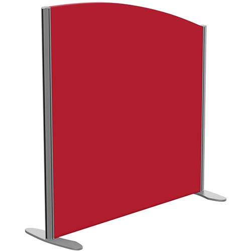 Sprint Eco Freestanding Screen Curved Top W1000xH1000-800mm Red - With Stabilising Feet
