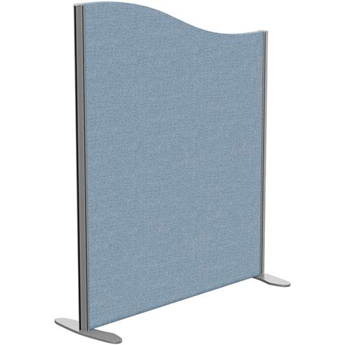 Sprint Eco Freestanding Screen Wave Top W1000xH1200-1000mm Light Blue - With Stabilising Feet