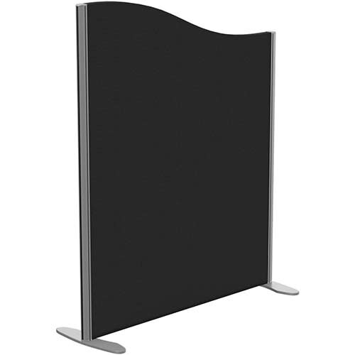 Sprint Eco Freestanding Screen Wave Top W1000xH1200-1000mm Black - With Stabilising Feet