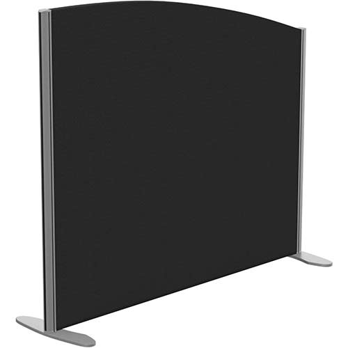 Sprint Eco Freestanding Screen Curved Top W1200xH1000-800mm Black - With Stabilising Feet