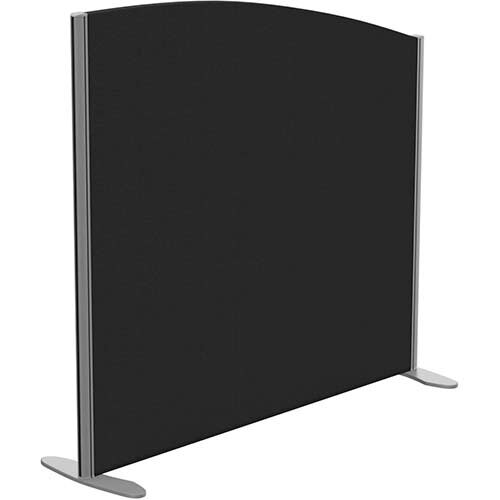 Sprint Eco Freestanding Screen Curved Top W1200xH1100-900mm Black - With Stabilising Feet