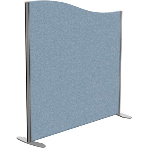 Sprint Eco Freestanding Screen Wave Top W1200xH1200-1000mm Light Blue - With Stabilising Feet