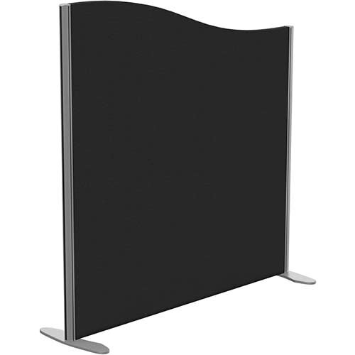 Sprint Eco Freestanding Screen Wave Top W1200xH1200-1000mm Black - With Stabilising Feet