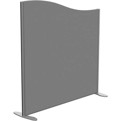 Sprint Eco Freestanding Screen Wave Top W1200xH1200-1000mm Grey - With Stabilising Feet