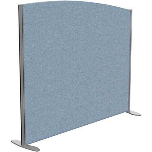 Sprint Eco Freestanding Screen Curved Top W1400xH1200-1000mm Light Blue - With Stabilising Feet