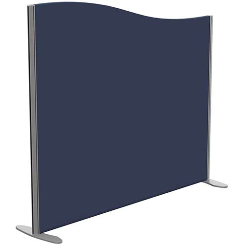 Sprint Eco Freestanding Screen Wave Top W1400xH1200-1000mm Dark Blue - With Stabilising Feet