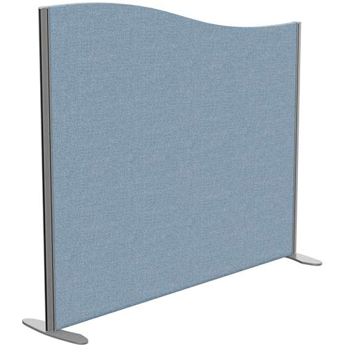 Sprint Eco Freestanding Screen Wave Top W1400xH1200-1000mm Light Blue - With Stabilising Feet