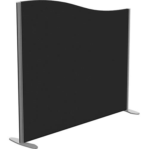 Sprint Eco Freestanding Screen Wave Top W1400xH1200-1000mm Black - With Stabilising Feet