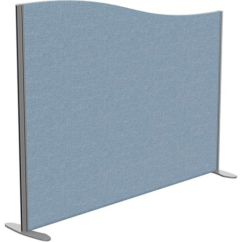 Sprint Eco Freestanding Screen Wave Top W1600xH1200-1000mm Light Blue - With Stabilising Feet
