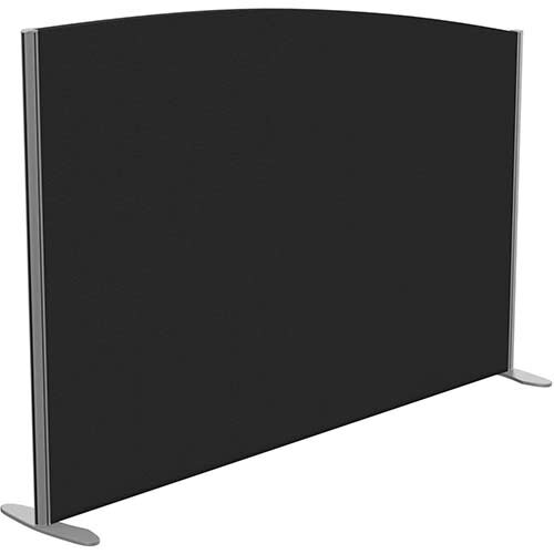 Sprint Eco Freestanding Screen Curved Top W1800xH1200-1000mm Black - With Stabilising Feet