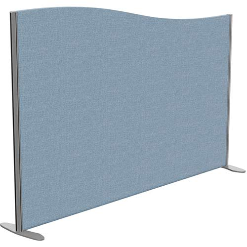 Sprint Eco Freestanding Screen Wave Top W1800xH1200-1000mm Light Blue - With Stabilising Feet