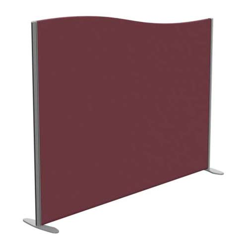 Sprint Eco Freestanding Screen Wave Top W1800xH1400-1200mm Wine - With Stabilising Feet