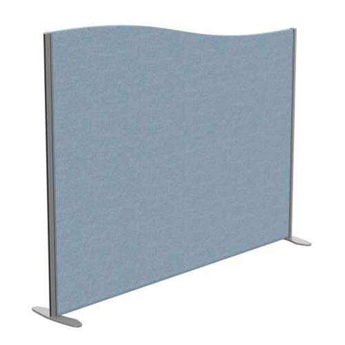 Sprint Eco Freestanding Screen Wave Top W1800xH1400-1200mm Light Blue - With Stabilising Feet