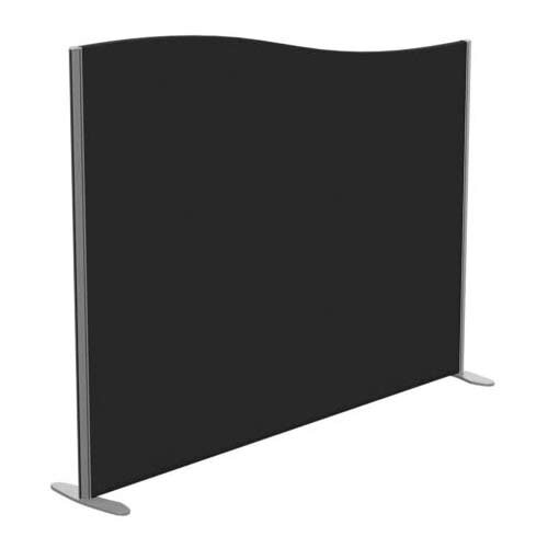 Sprint Eco Freestanding Screen Wave Top W1800xH1400-1200mm Black - With Stabilising Feet